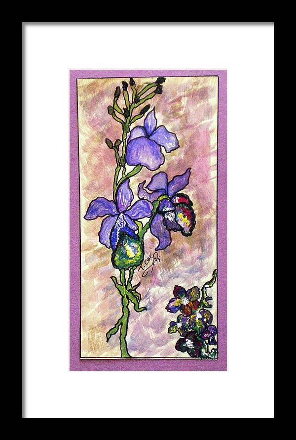 Flower Flowers Cool Framed Print featuring the painting Cool Flower Study by Tammera Malicki-Wong