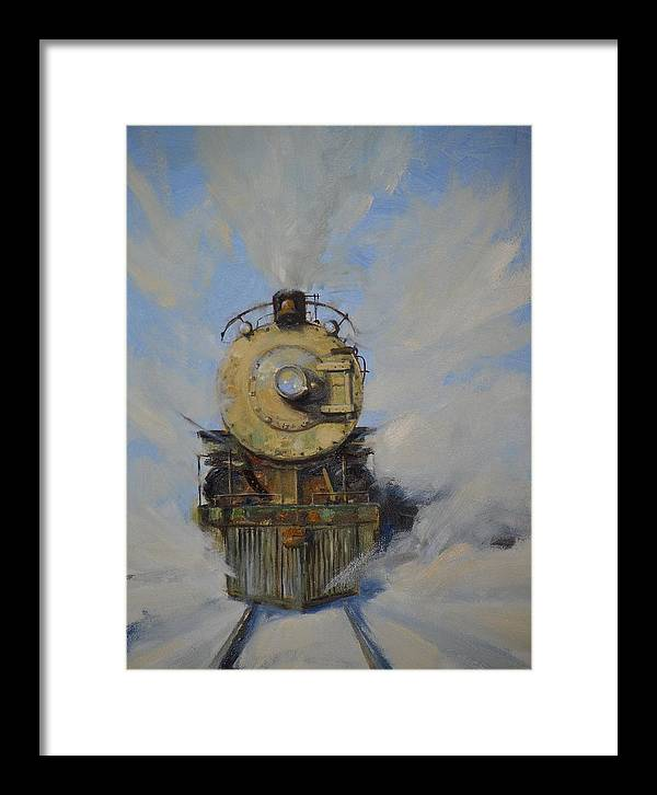 Steam Locomotive Framed Print featuring the painting Cool Running by Greg Clibon