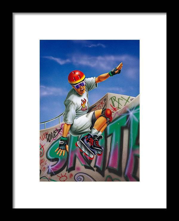 Skate Framed Print featuring the mixed media Cool Skater by Patrick Hoenderkamp