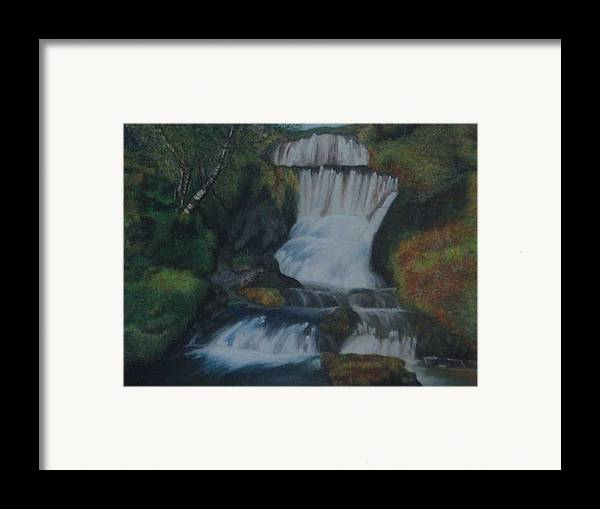 Waterfall Framed Print featuring the painting Cool Waters by Nellie Visser