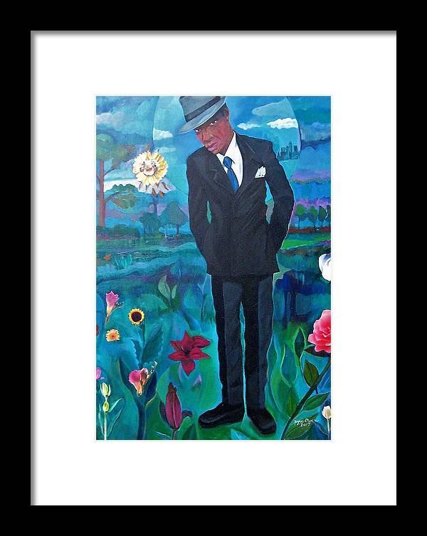 Man Framed Print featuring the painting Cooler By The Lake/male by Joyce Owens