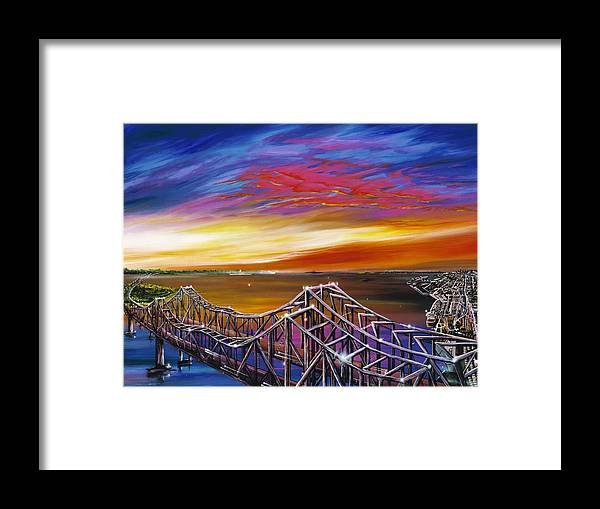 Clouds Framed Print featuring the painting Cooper River Bridge by James Christopher Hill