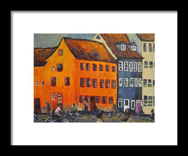 Copenhagen Framed Print featuring the painting Copenhagen by Art Nomad Sandra Hansen