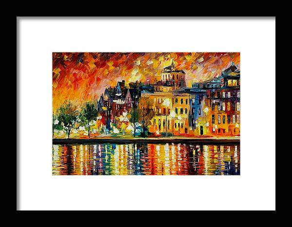 City Framed Print featuring the painting Copenhagen Original Oil Painting by Leonid Afremov