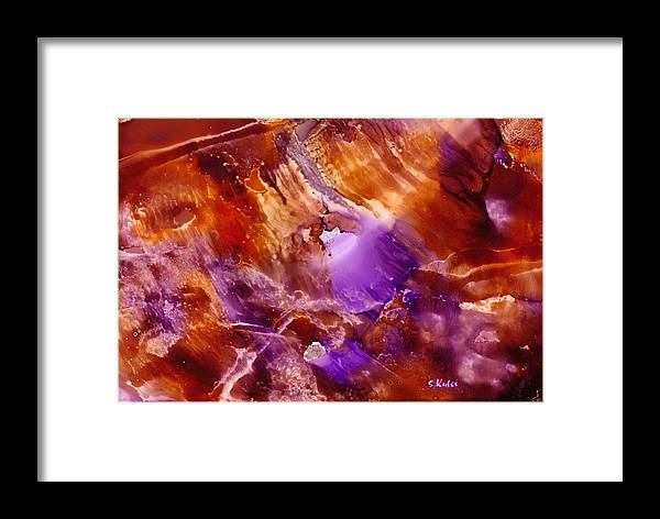 Abstract Framed Print featuring the painting Copper And Amethyst II by Susan Kubes