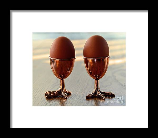 Copper Framed Print featuring the photograph Copper Chicken Feet Egg Cups by Catherine Sherman