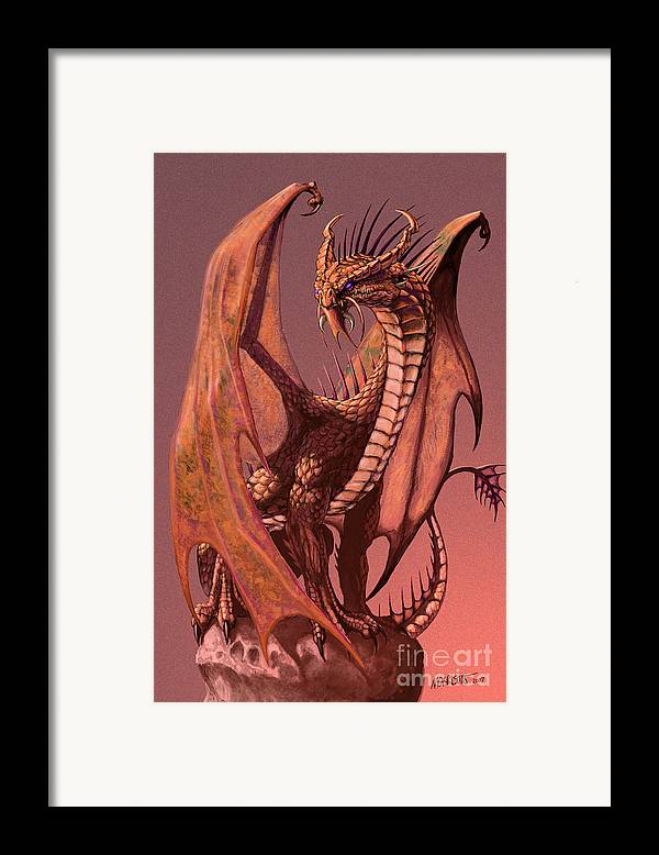 Dragon Framed Print featuring the digital art Copper Dragon by Stanley Morrison