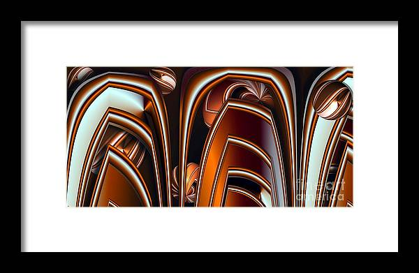 Abstract Framed Print featuring the digital art Copper Shields by Ron Bissett
