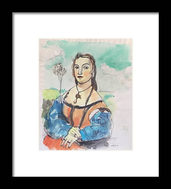 Framed Print featuring the drawing Copy Of Raphael by Alejandro Lopez-Tasso