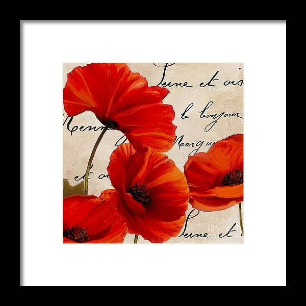Poppies Framed Print featuring the painting Coquelicots Rouge I by Mindy Sommers