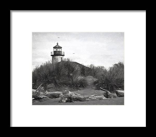 Lighthouse Framed Print featuring the photograph Coquille River Lighthouse Oregon Black And White Giclee Art Print by Gigi Ebert