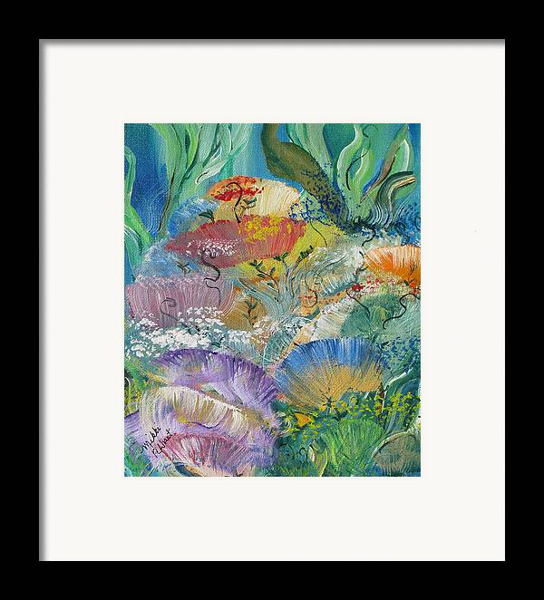 Coral Framed Print featuring the painting Coral Fantasy by Mikki Alhart