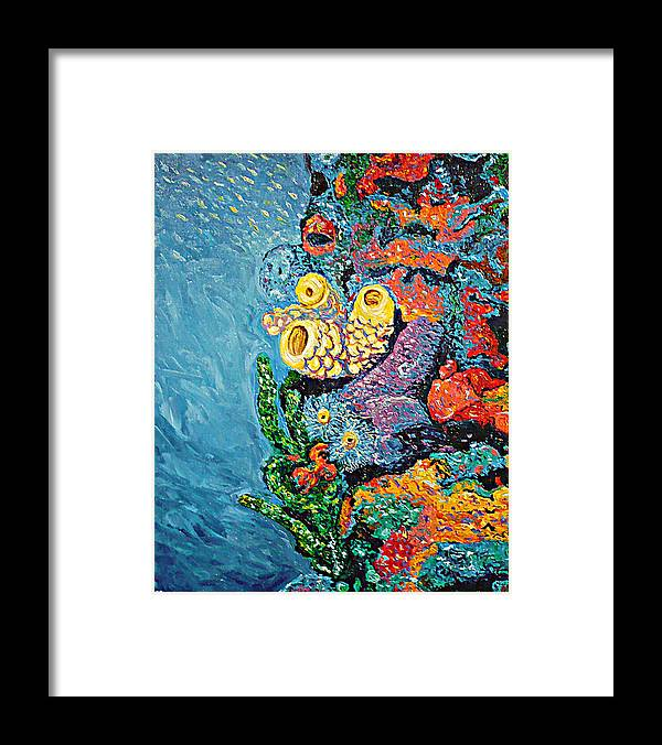 Coral Framed Print featuring the painting Coral With Cucumber by Ericka Herazo