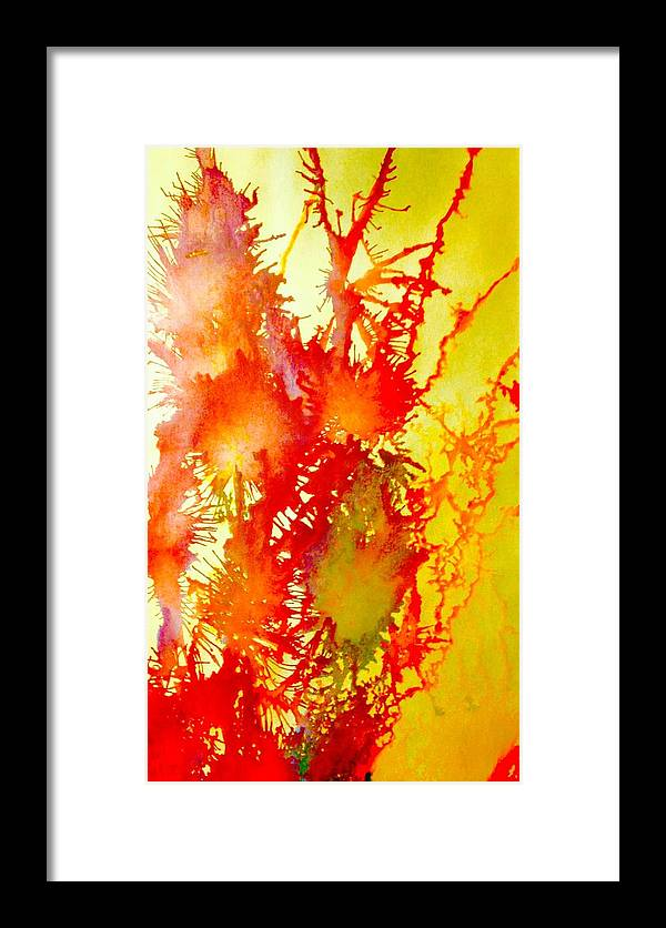 Abstract Artwork Painting Acrylic Mixed Media Framed Print featuring the mixed media Corals In Sunrise by Charles Fuller