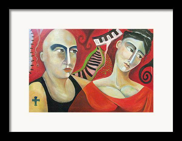 Man Woman Cubist Music Piano Red Cross Framed Print featuring the painting Corazon Pesado by Niki Sands