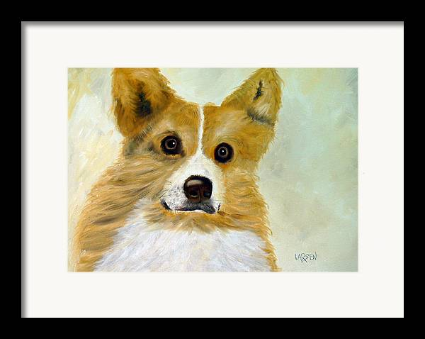 Framed Print featuring the painting Corgi by Dick Larsen