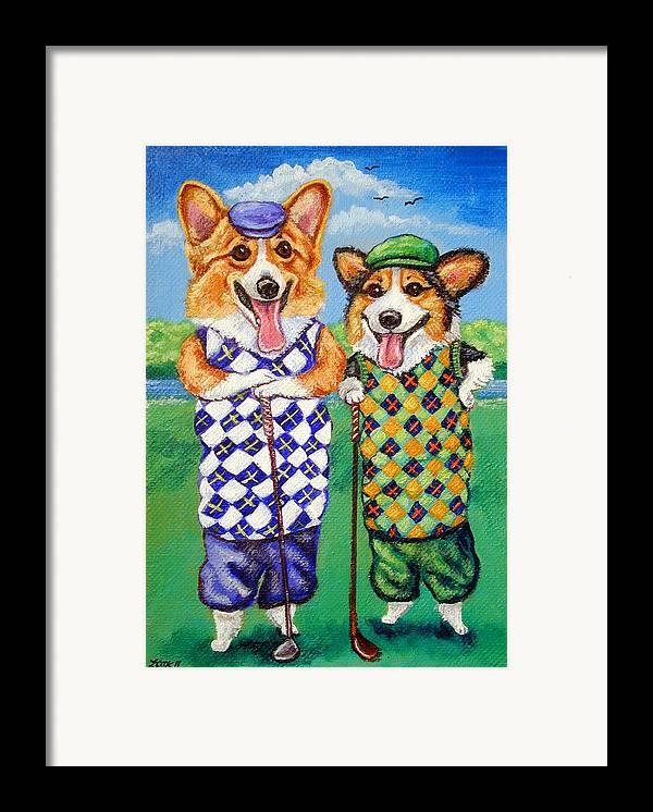 Pembroke Welsh Corgi Framed Print featuring the painting Corgi Golfers Pembroke Welsh Corgi by Lyn Cook