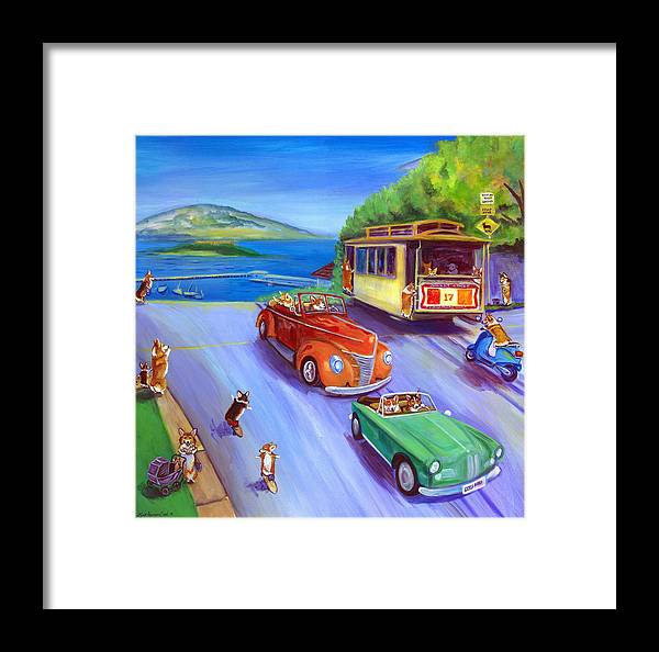 Pembroke Welsh Corgi Framed Print featuring the painting Corgi Trolley On Hyde Street by Lyn Cook