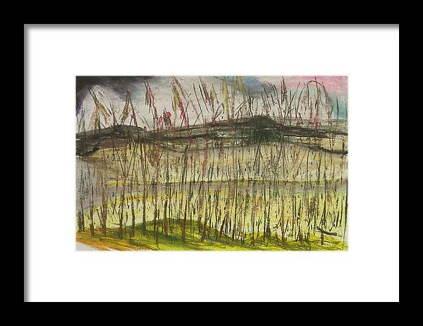 Landscape Framed Print featuring the pastel Corn At The Rver,chiang Rai by David Lewis