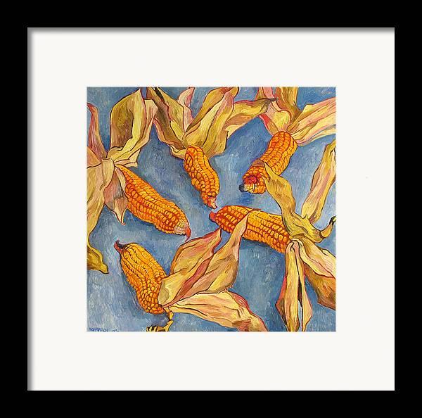 Corn Framed Print featuring the painting Corn by Vitali Komarov