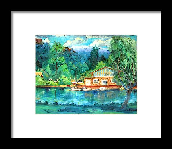 Cauga Lake Framed Print featuring the painting Cornell Boathouse by Ethel Vrana