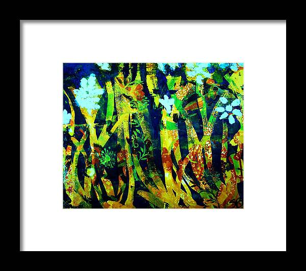 Abstract Flowers Framed Print featuring the painting Corner Of The Woods by Samuel Banks