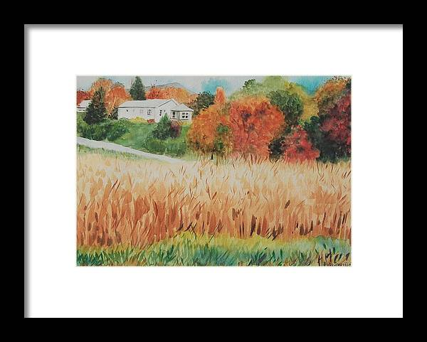 Autumn Framed Print featuring the painting Cornfield in Autumn by Judy Swerlick
