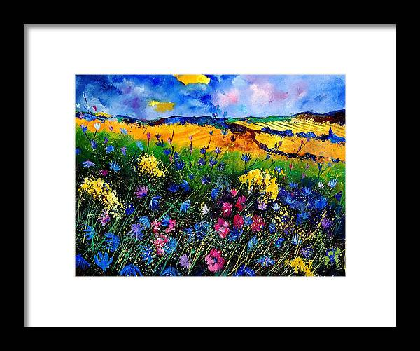 Flowers Framed Print featuring the painting Cornflowers 680808 by Pol Ledent