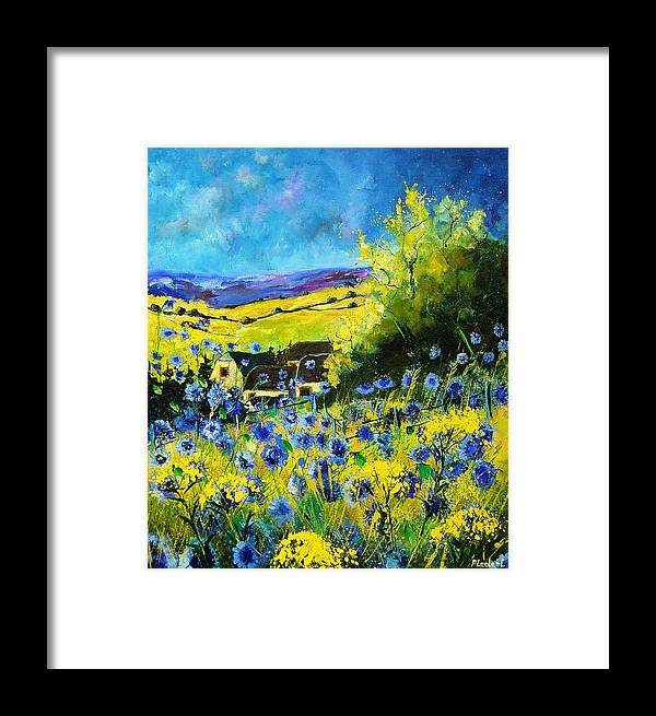 Flowers Framed Print featuring the painting Cornflowers In Ver by Pol Ledent