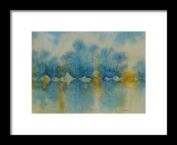 Landscape Framed Print featuring the painting Cornish Blue by Georg Schedlbauer