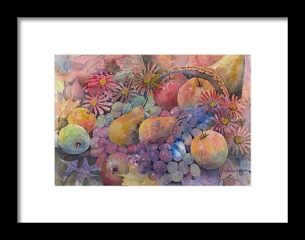 Cornucopia Framed Print featuring the painting Cornucopia Of Fruit by Arline Wagner
