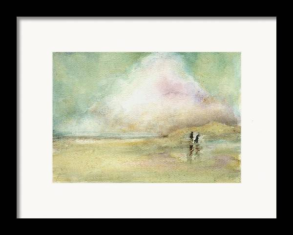 Beach Scene Framed Print featuring the print Corolla Beach Stroll by Donna Elio