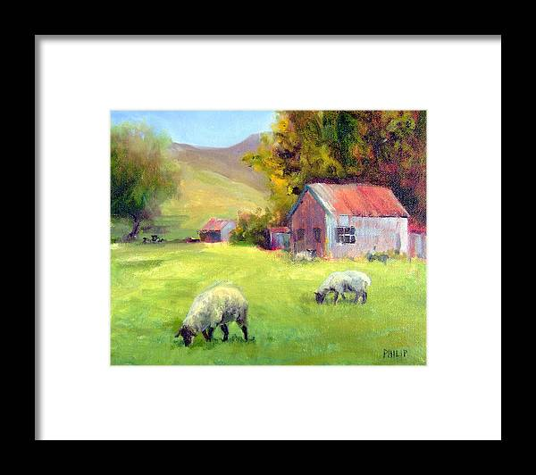 Sheep Framed Print featuring the painting Coromandel New Zealand Sheep by Michelle Philip