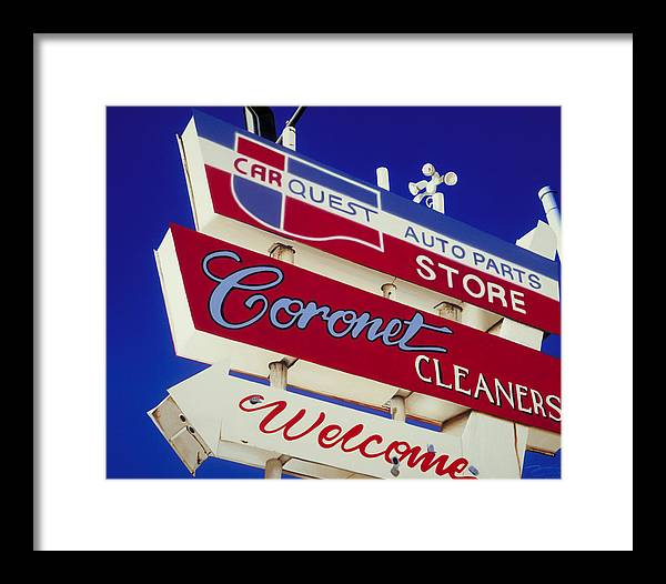 Americana Framed Print featuring the painting Coronet Cleaners by Randy Ford