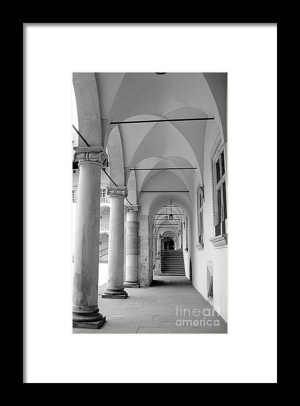 Architecture Framed Print featuring the photograph Corridor In Wawel by Keiko Richter
