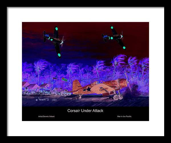 Aviation Art Framed Print featuring the painting Corsair At The Ready by Dennis Vebert