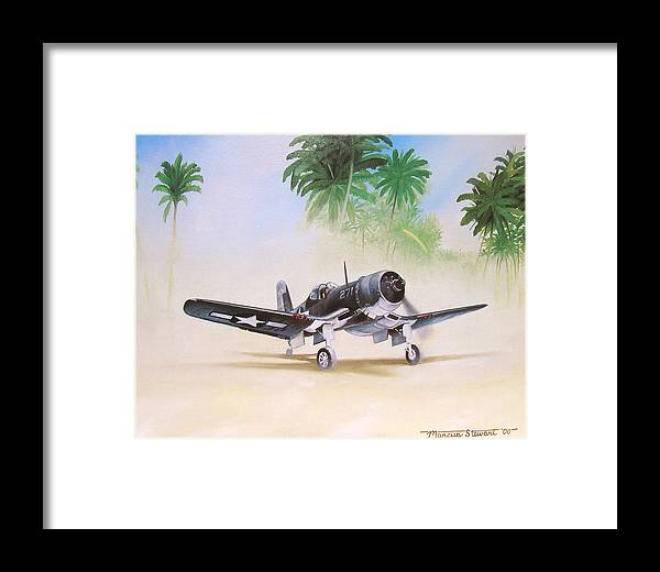 Aviation Framed Print featuring the painting Corsair Preflight by Marc Stewart