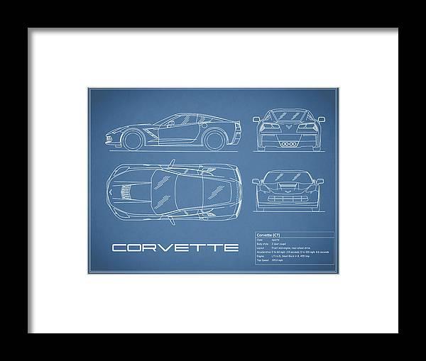 Corvette c7 blueprint framed print by mark rogan corvette c7 framed print featuring the photograph corvette c7 blueprint by mark rogan malvernweather Images