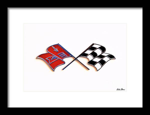 Corvette Framed Print featuring the photograph Corvette Flags On White by Charles Abrams