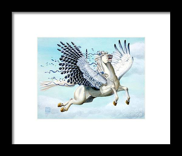 Artwork Framed Print featuring the painting Cory Pegasus by Melissa A Benson