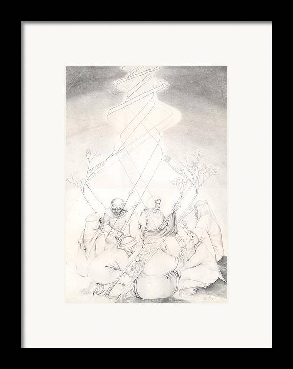 People Framed Print featuring the drawing Cosmic Conference by Amrei Al-Tobaishi-Jarosch