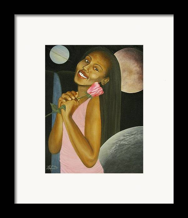 Portrait Framed Print featuring the painting Cosmic Queen Courtney by Angelo Thomas