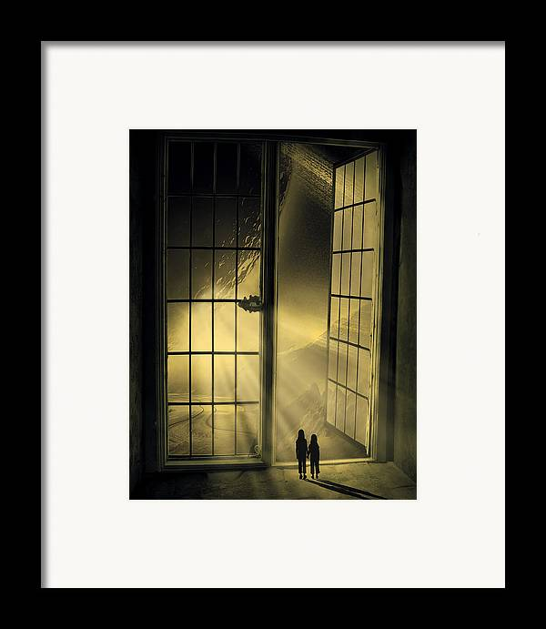 Black Framed Print featuring the digital art Cosmic Rays by Svetlana Sewell