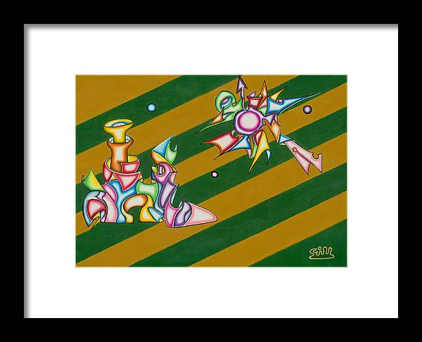 Fantasy Framed Print featuring the painting Cosmic Steamship by      Gillustrator