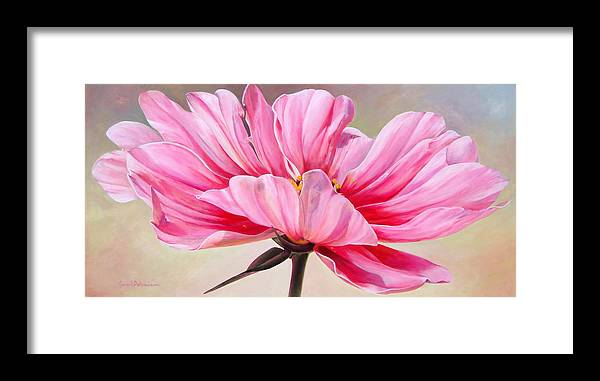 Floral Painting Framed Print featuring the painting Cosmos de bullion by Muriel Dolemieux