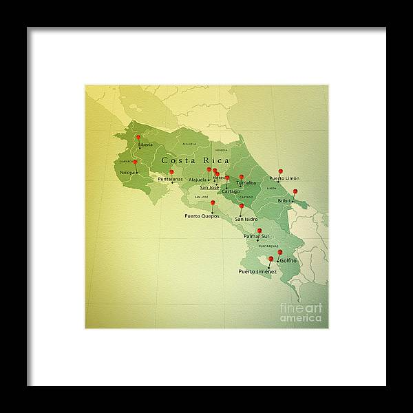 Costa Rica Map Square Cities Straight Pin Vintage Framed Print by ...