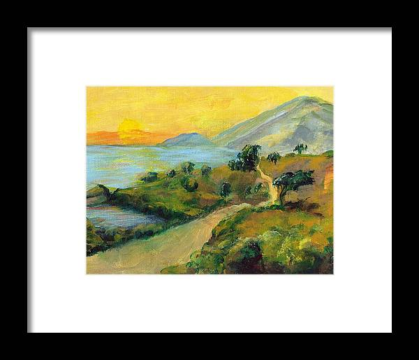 Sea Framed Print featuring the painting Costa Rica Sunset by Randy Sprout