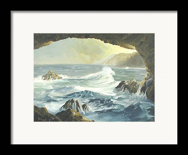 Coast Framed Print featuring the painting Costal Cave by Robert Thomaston