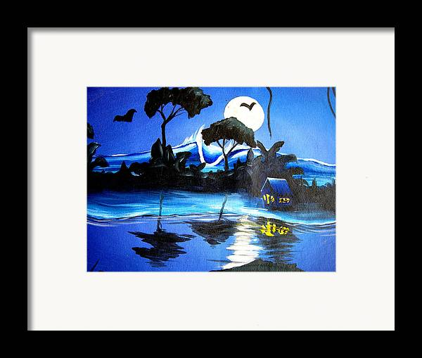 Surf Framed Print featuring the painting Costarica Nightlife by Ronnie Jackson