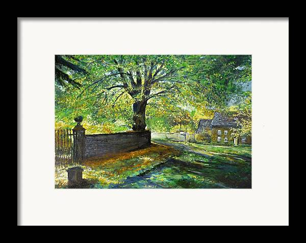 Landscape Framed Print featuring the painting Cotswold Lane by Lizzy Forrester